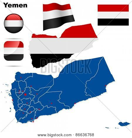 Yemen set. Detailed country shape with region borders, flags and icons isolated on white background.