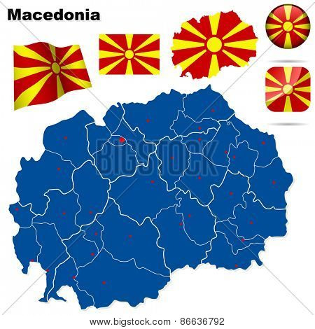 Macedonia set. Detailed country shape with region borders, flags and icons isolated on white background.
