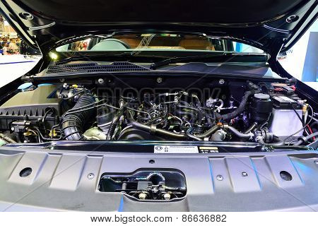 Bangkok - March 26 : Engine Room Of Volkswagen Amarok On Display At 36Th Bangkok International Motor