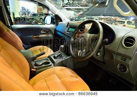 Bangkok - March 26 : Interior Design Of Passenger Room Of Volkswagen Amarok, Pick Up Truck, On Displ
