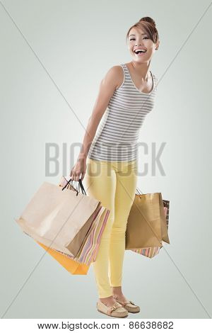 Shopping girl of Asian, full length portrait isolated on white with clipping path.