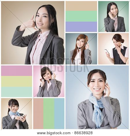 Collection of Asian business woman talk and listen, concept about connect, social media, group, speak etc.