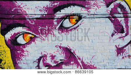 Street art Montreal man face
