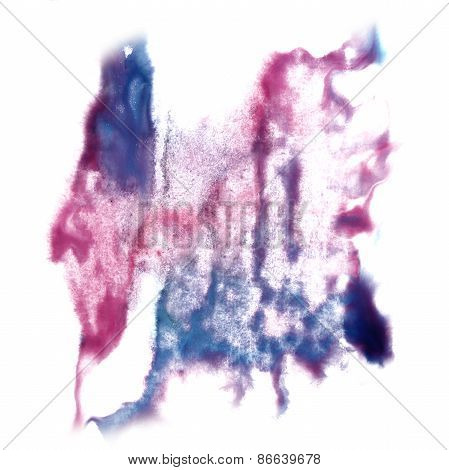 Abstract blue, light pink watercolor hand painted background ins