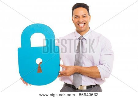 good looking middle aged man presenting padlock