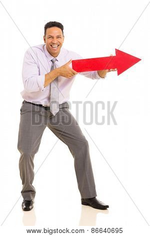 funny middle aged man pointing with arrow sign on white background