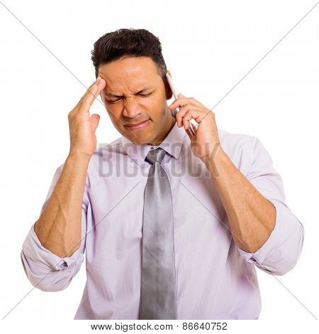 confused man talking on cell phone isolated on white background