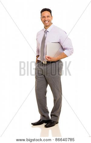 handsome mid age business executive holding laptop