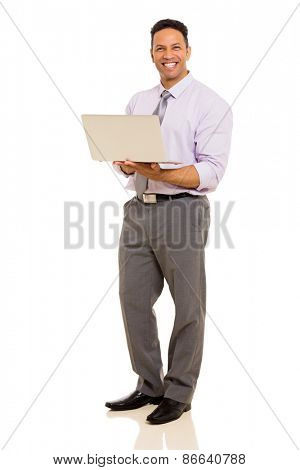 cheerful middle aged corporate worker holding laptop