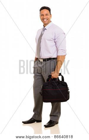 happy middle aged businessman holding briefcase isolated on white