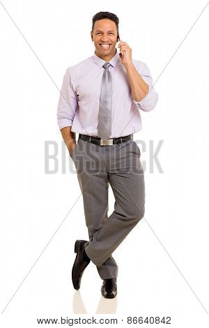 happy mature businessman talking on cell phone isolated on white background