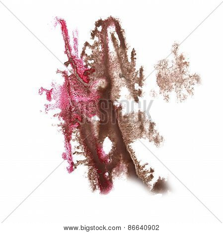 Abstract brown,cherry watercolor hand painted background insult