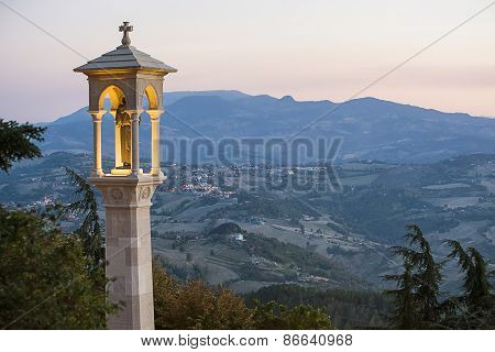 Panoramic View In San Marino In The Late Evening In Summer