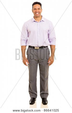 portrait of good looking mature man standing on white background