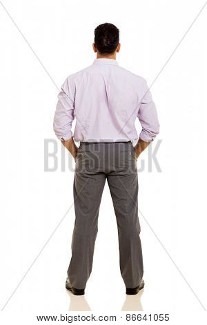 back view of middle aged businessman isolated on white background