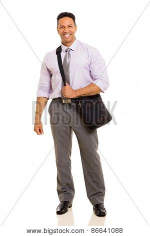 full length of mid age businessman carrying bag isolated on white background