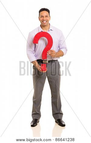 portrait of middle aged man holding question mark isolated on white