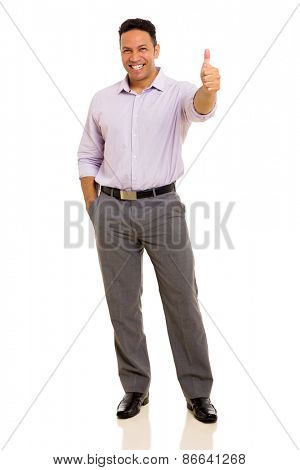 happy middle aged businessman giving thumb up