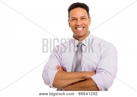 close up portrait of happy mid age man with arms folded
