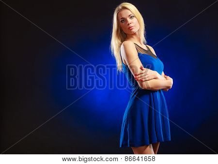 Portrait Lovely Girl Long Blond Hair