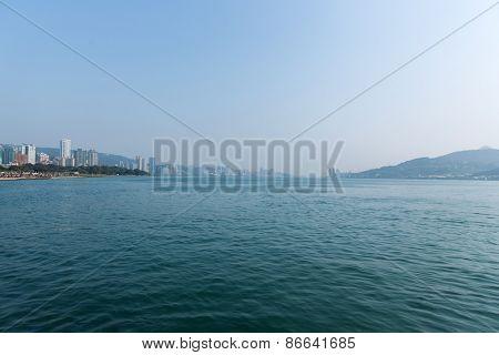 Scenery of Tamsui river in Tamsui, New Taipei City, Taiwan.