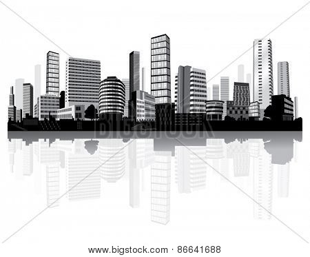 Cityscape on the river. Black and white architecture. Vector.