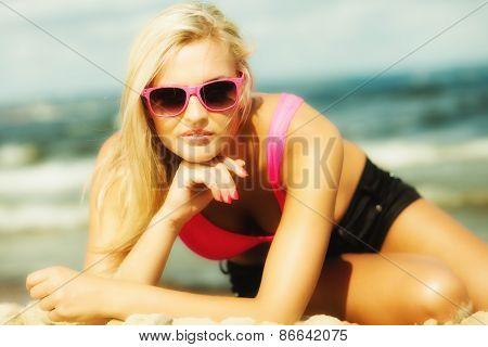 Beautiful Blonde Girl On Beach, Summertime