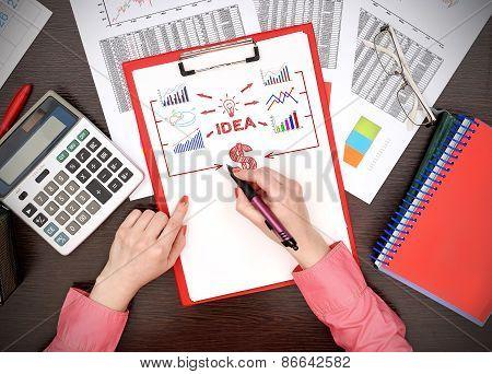Woman Drawing Business Plan