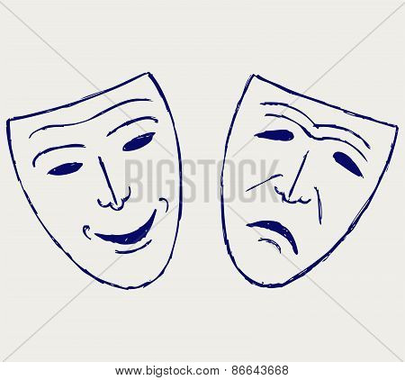 Comedy-tragedy theater masks