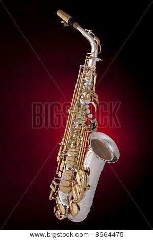 Saxophone On Red Spotlight
