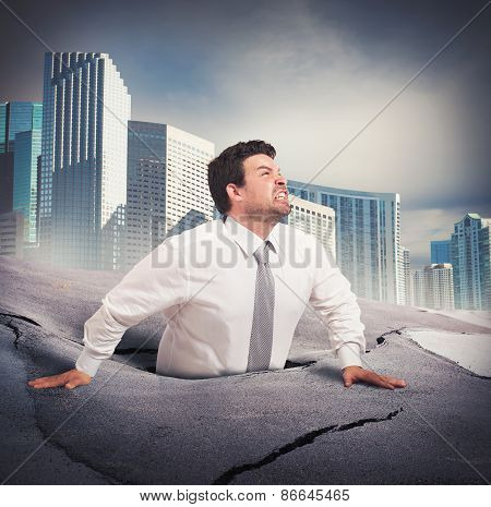Businessman sinks into despair