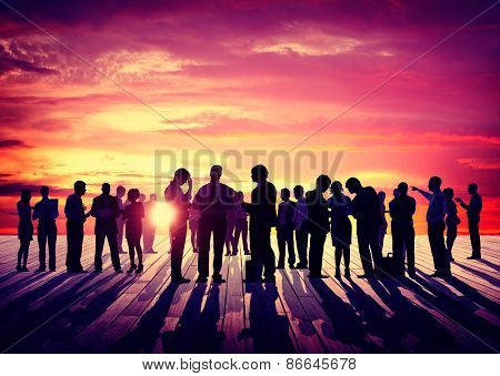 Back Lit Business People Discussion Skyline Concept