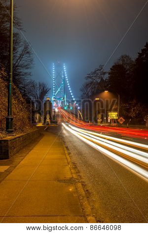 Lions Gate bridge. Night view of Vancouver, Canada