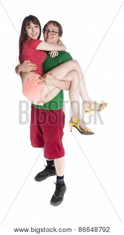 Young Sweet Couple - Man Carrying his Woman