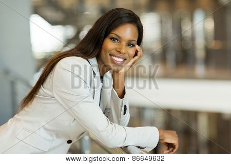 gorgeous afro american career woman looking at the camera