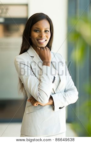 beautiful modern african businesswoman in office looking at the camera
