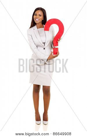 cheerful young african american businesswoman holding question mark