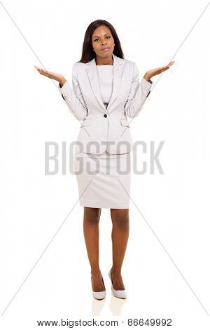 african woman with careless body language isolated on white background