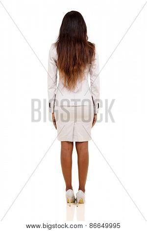 rear view of young african businesswoman isolated on white