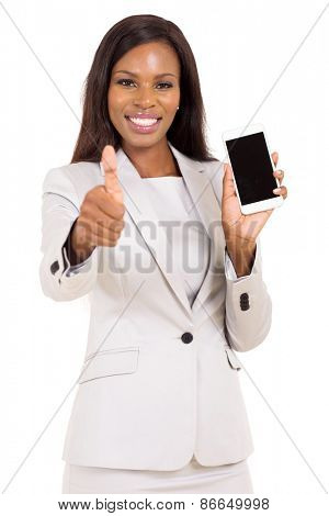 pretty businesswoman holding cell phone and giving thumb up