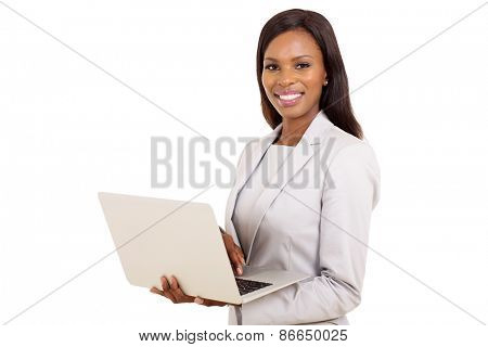 portrait of afro american businesswoman using laptop computer