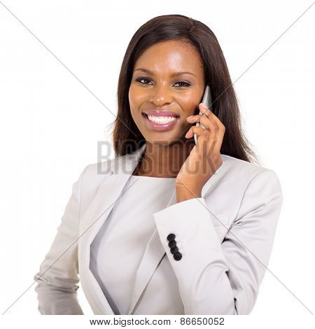 successful young african american businesswoman talking on mobile phone