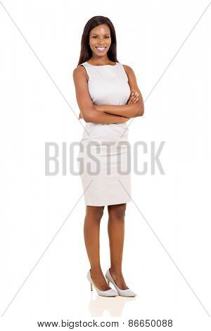 full length portrait of pretty young african woman on white background