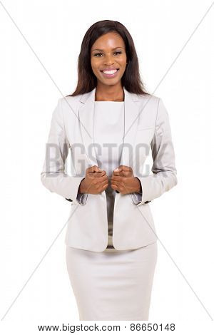 happy young afro american business woman looking at the camera