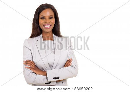 cheerful young african businesswoman looking at the camera