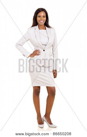 full length portrait of beautiful african business woman posing on white