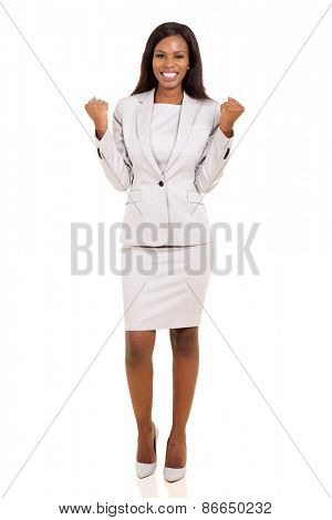 successful african businesswoman waving fists isolated on white background