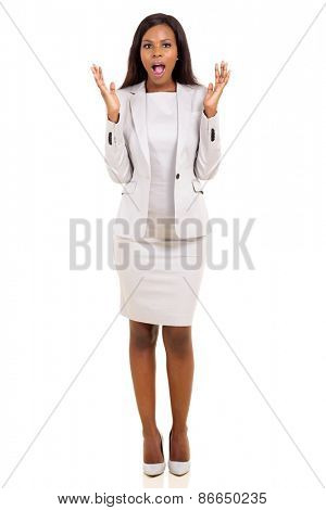 portrait of african businesswoman looking surprised on white background