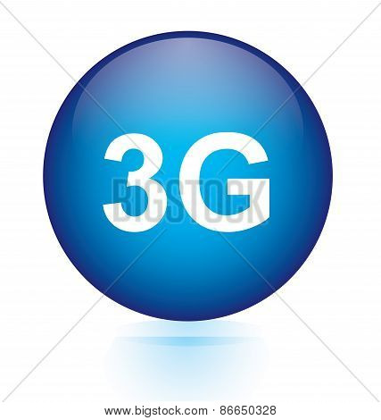 3G blue circular button