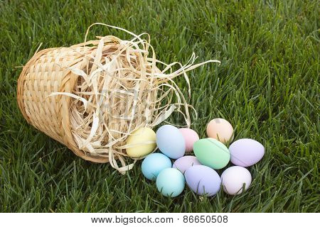 Easter eggs in Tipped Over Basket